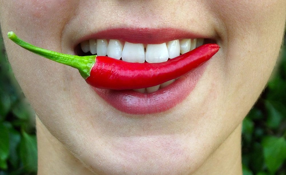 chili in mouth