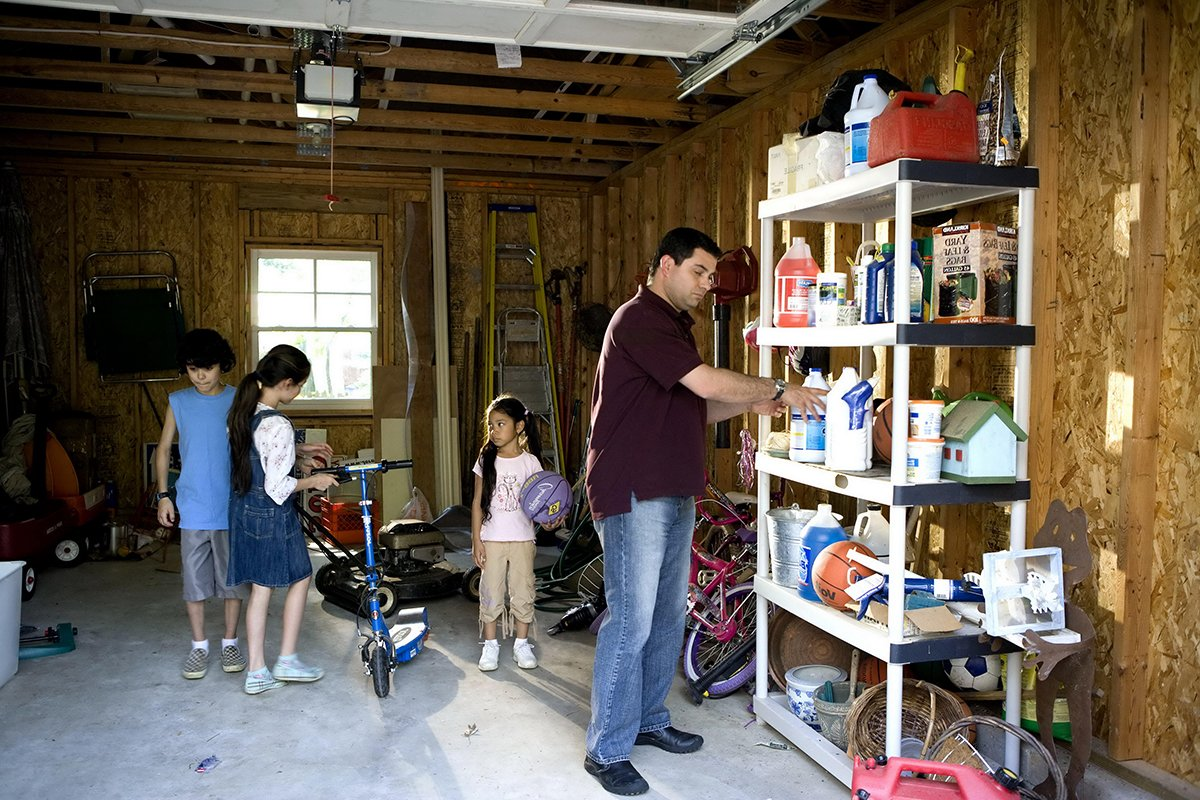 family cleaning garage